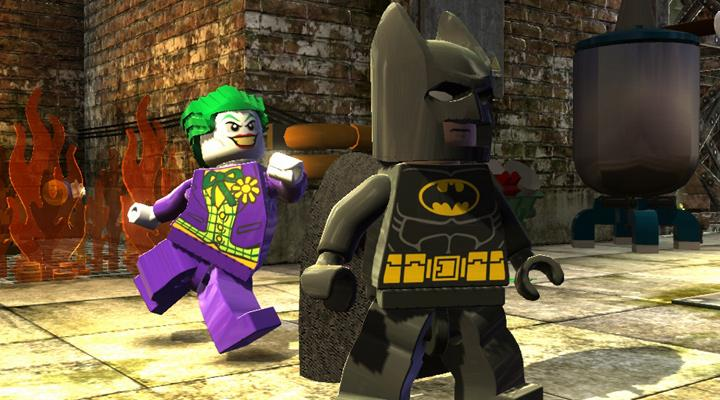 Lego Joker kicks Batman