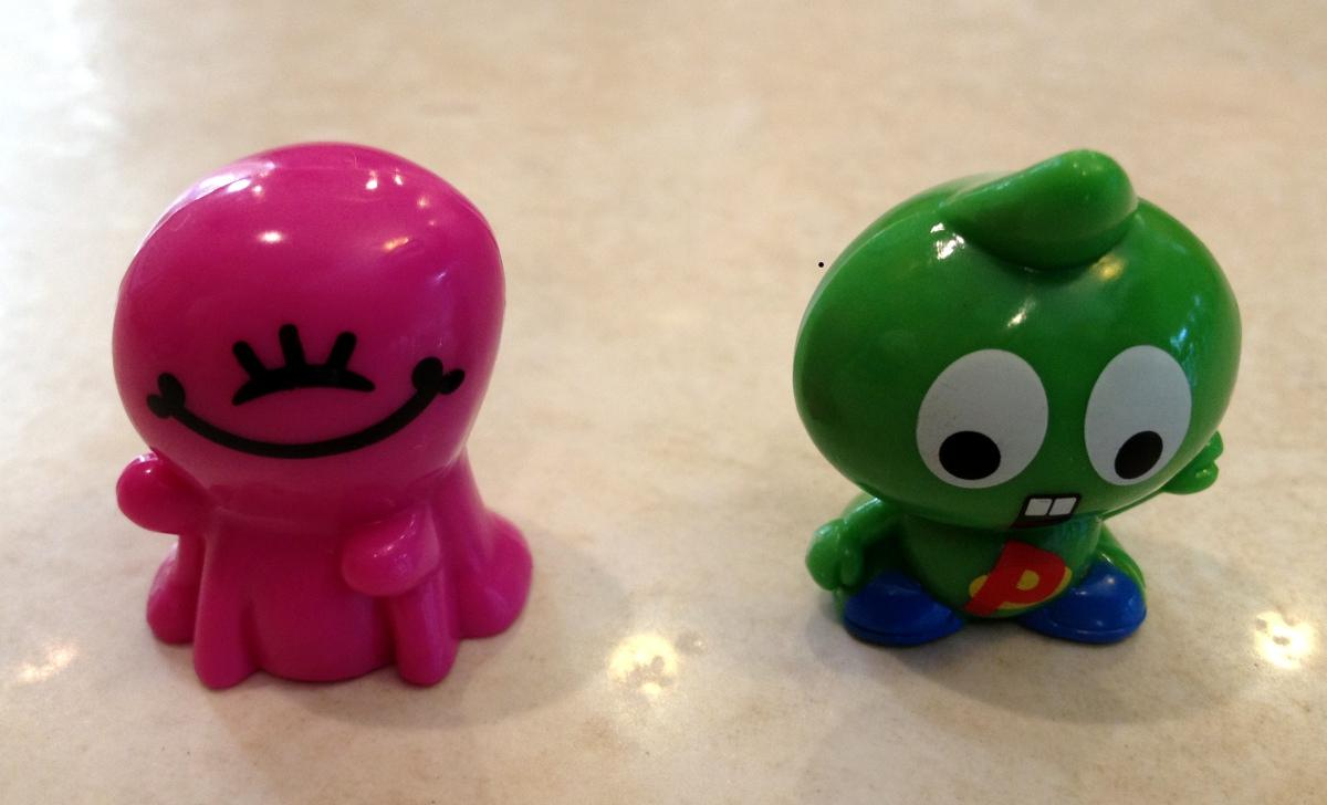 Green and pink characters