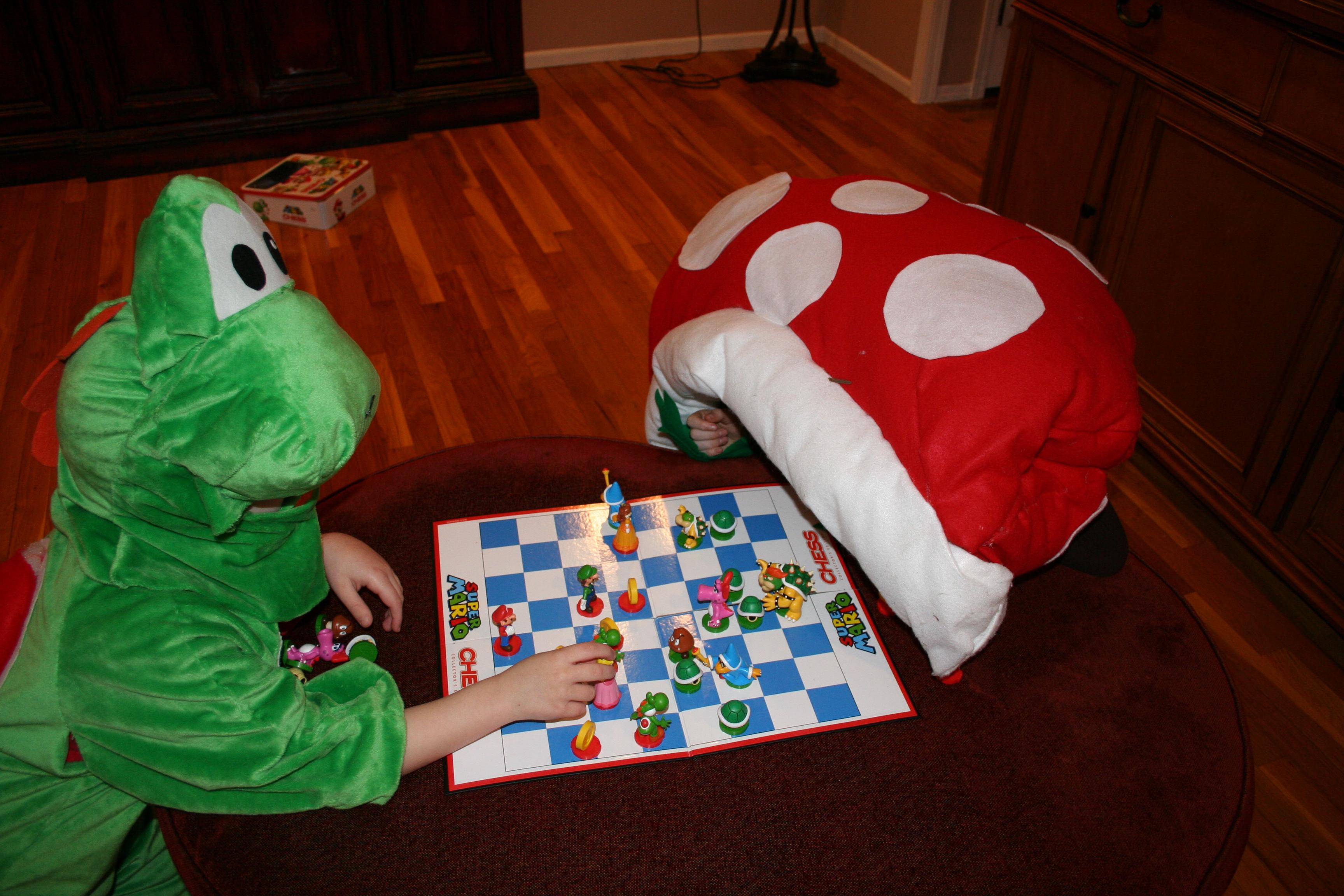 Yoshi playing Mario Chess