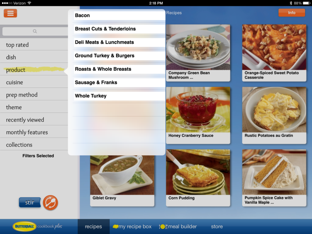 Butterball cookbook app categories