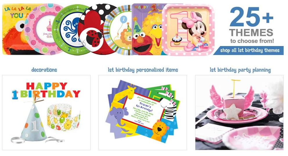 1st Birthday Parties  First Birthday Party Supplies   1st Birthday Ideas at Birthday in a Box