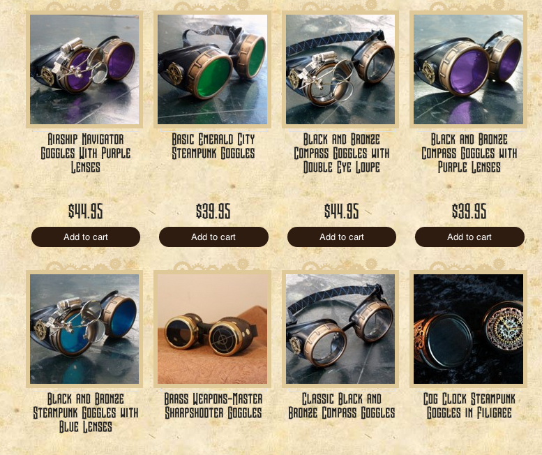 Just a small sampling of Steampunk Goggles available!