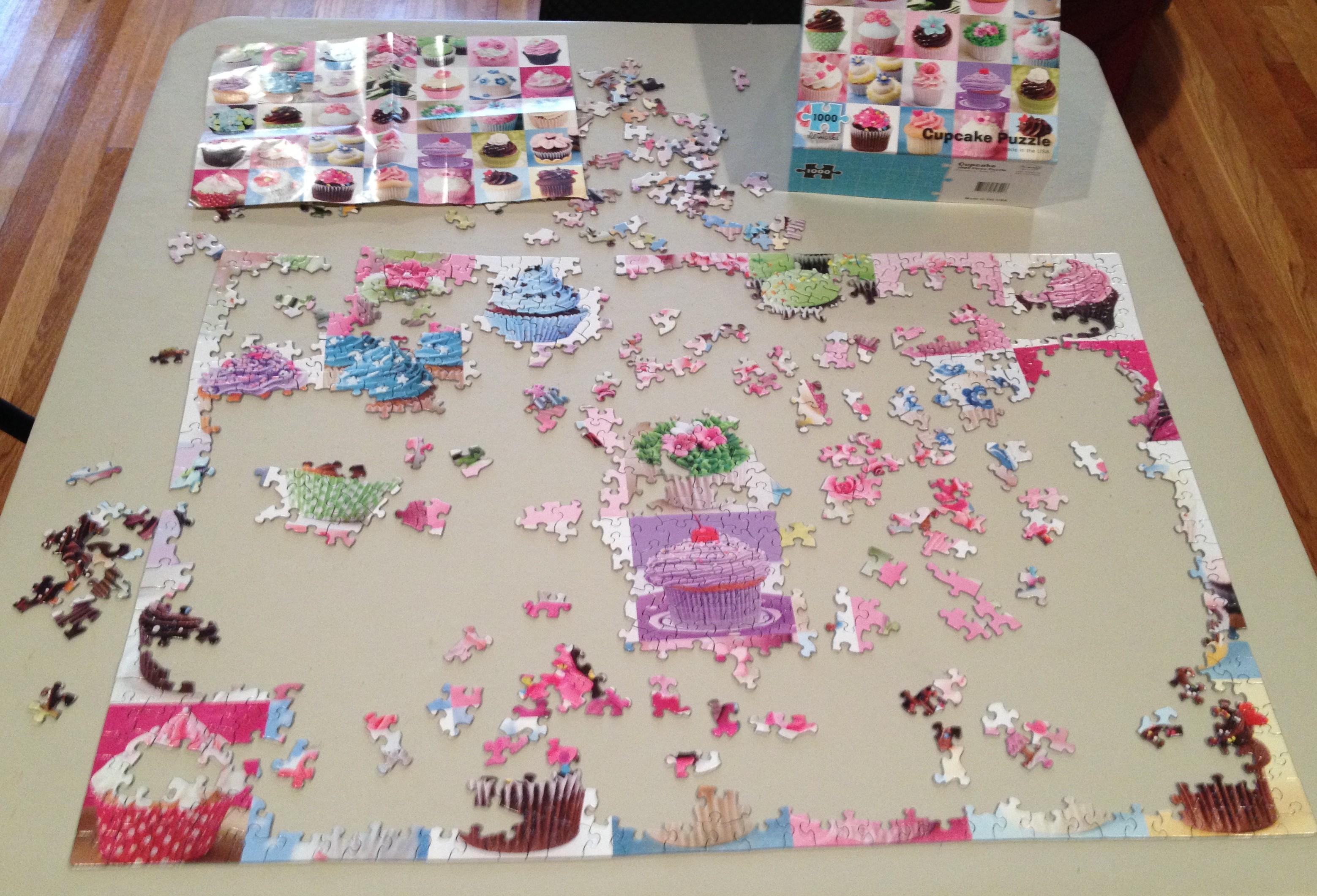 Cupcake puzzle in progress