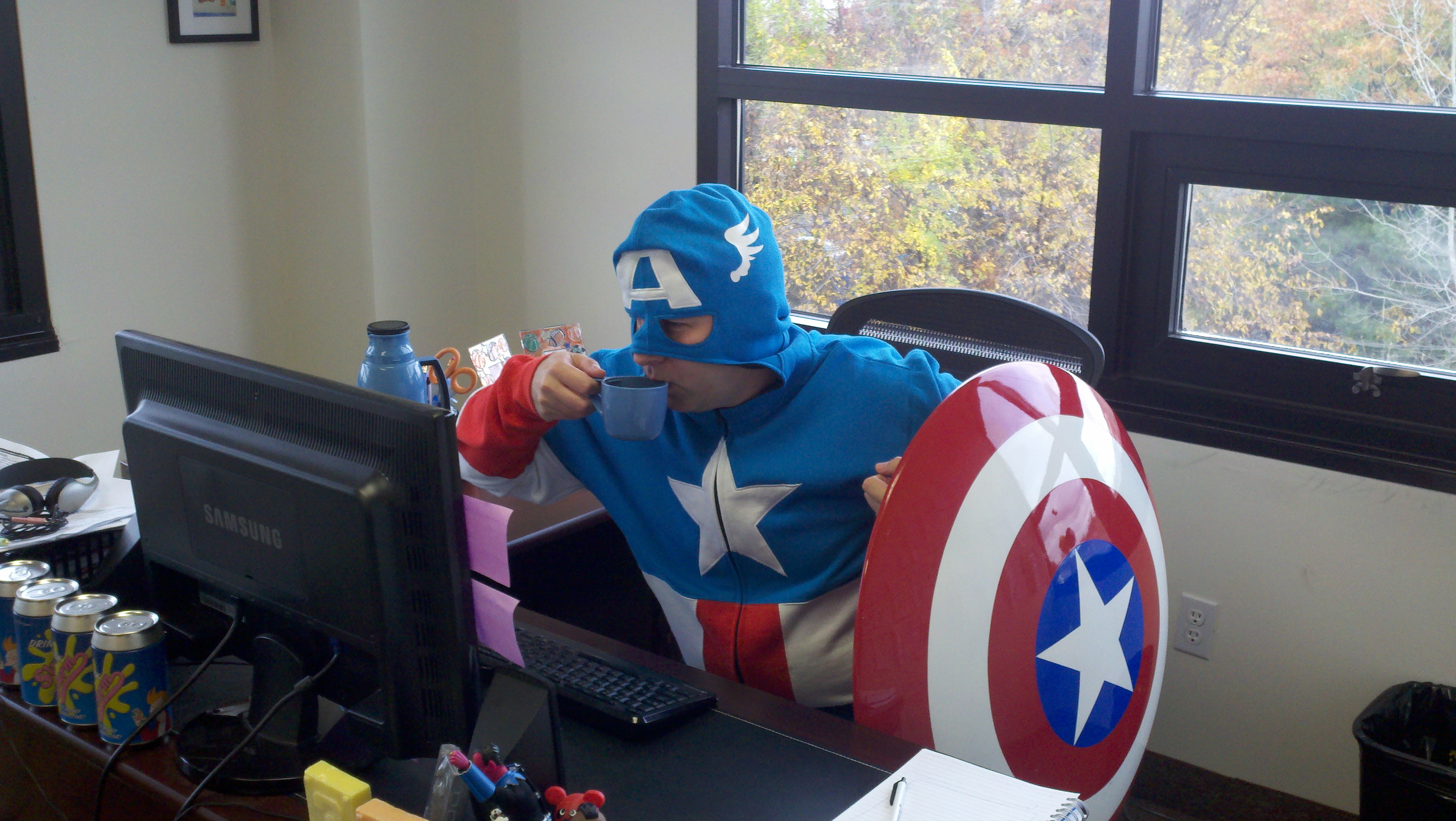 Captain America at work