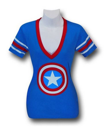 Captain America Athletic Juniors V Neck T Shirt  Clothing