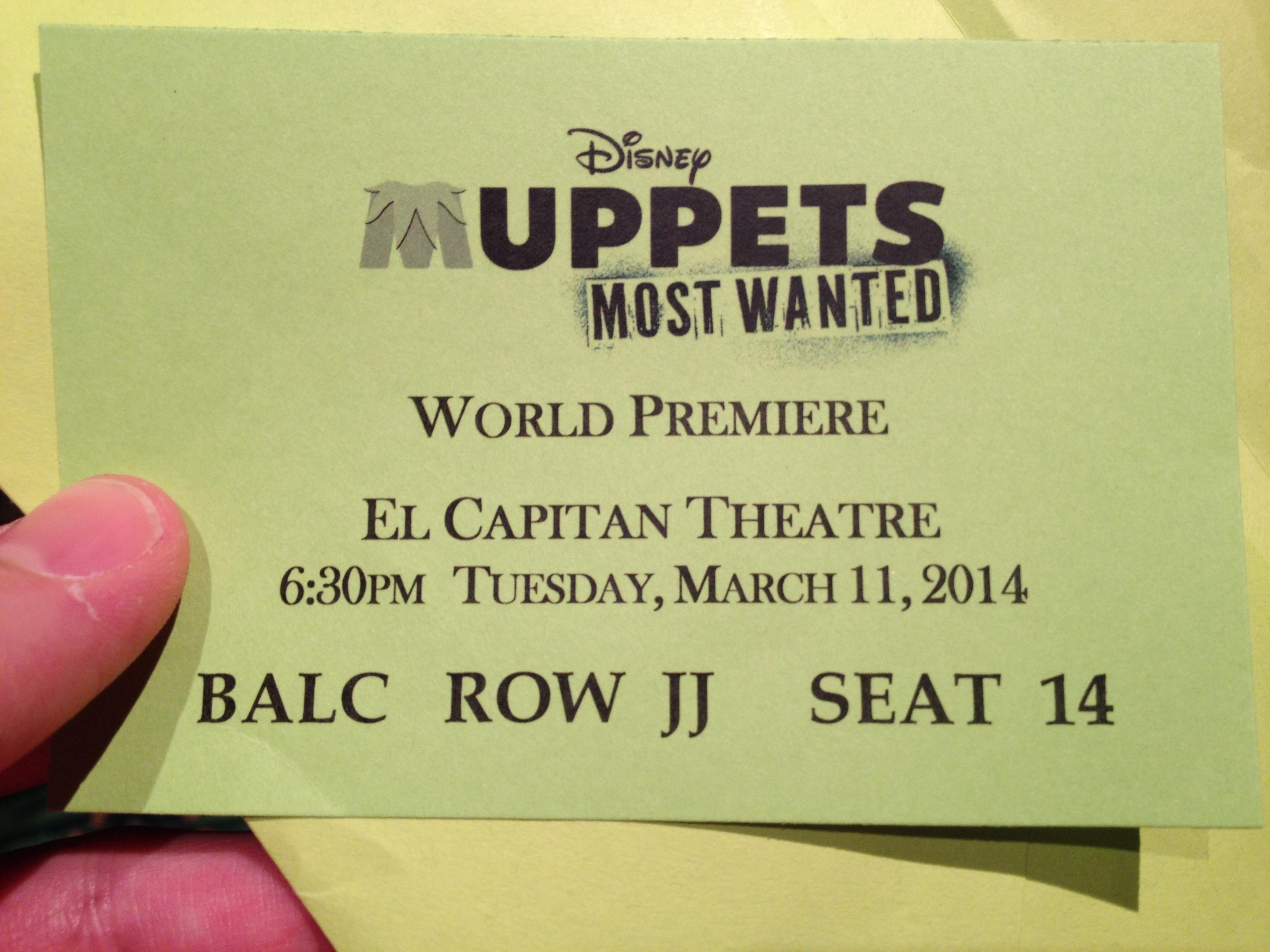 #MuppetsMostWantedEvent Red Carpet Premiere Ticket