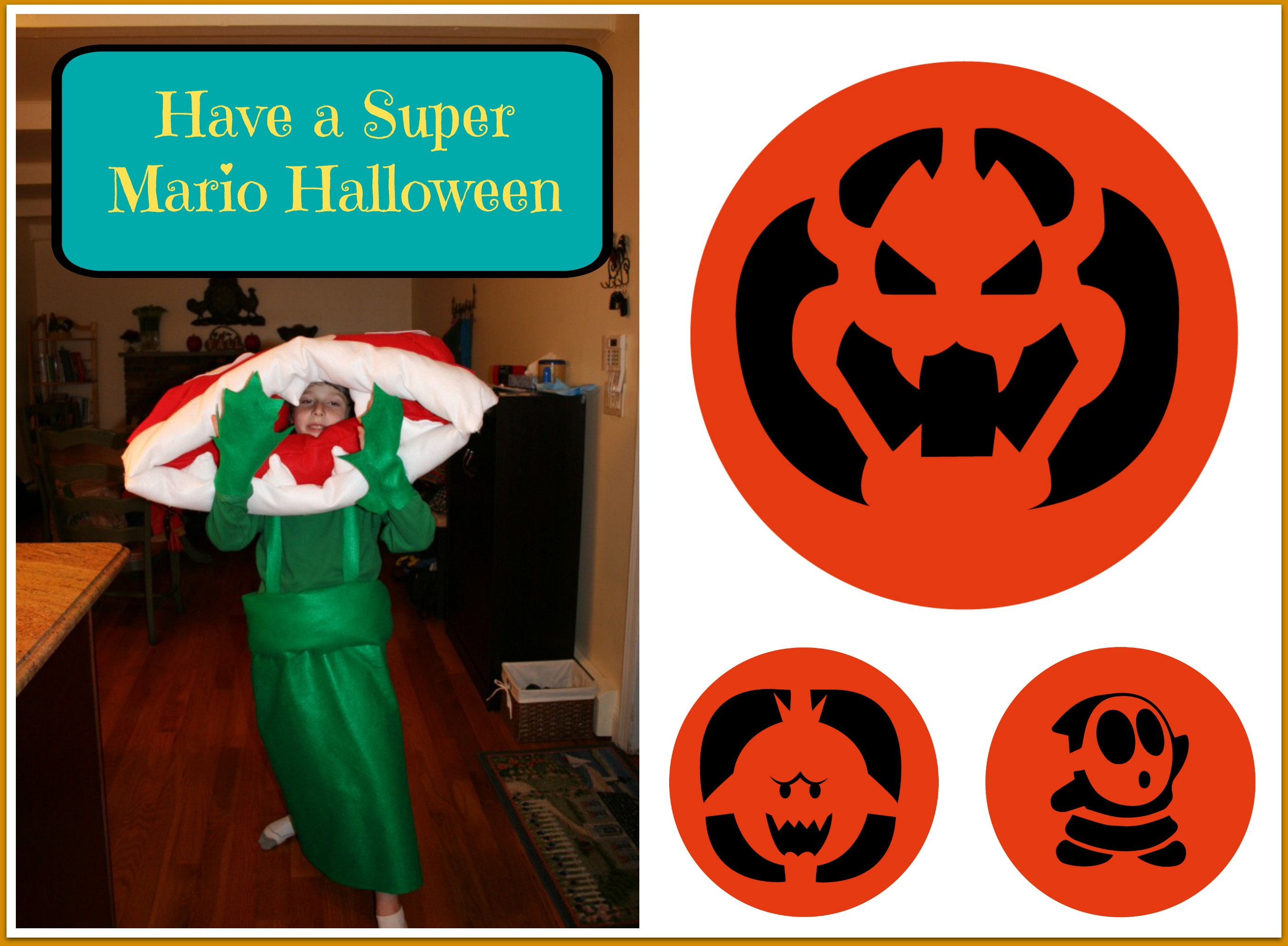 Have a Super Mario Halloween with These Pumpkin Stencils