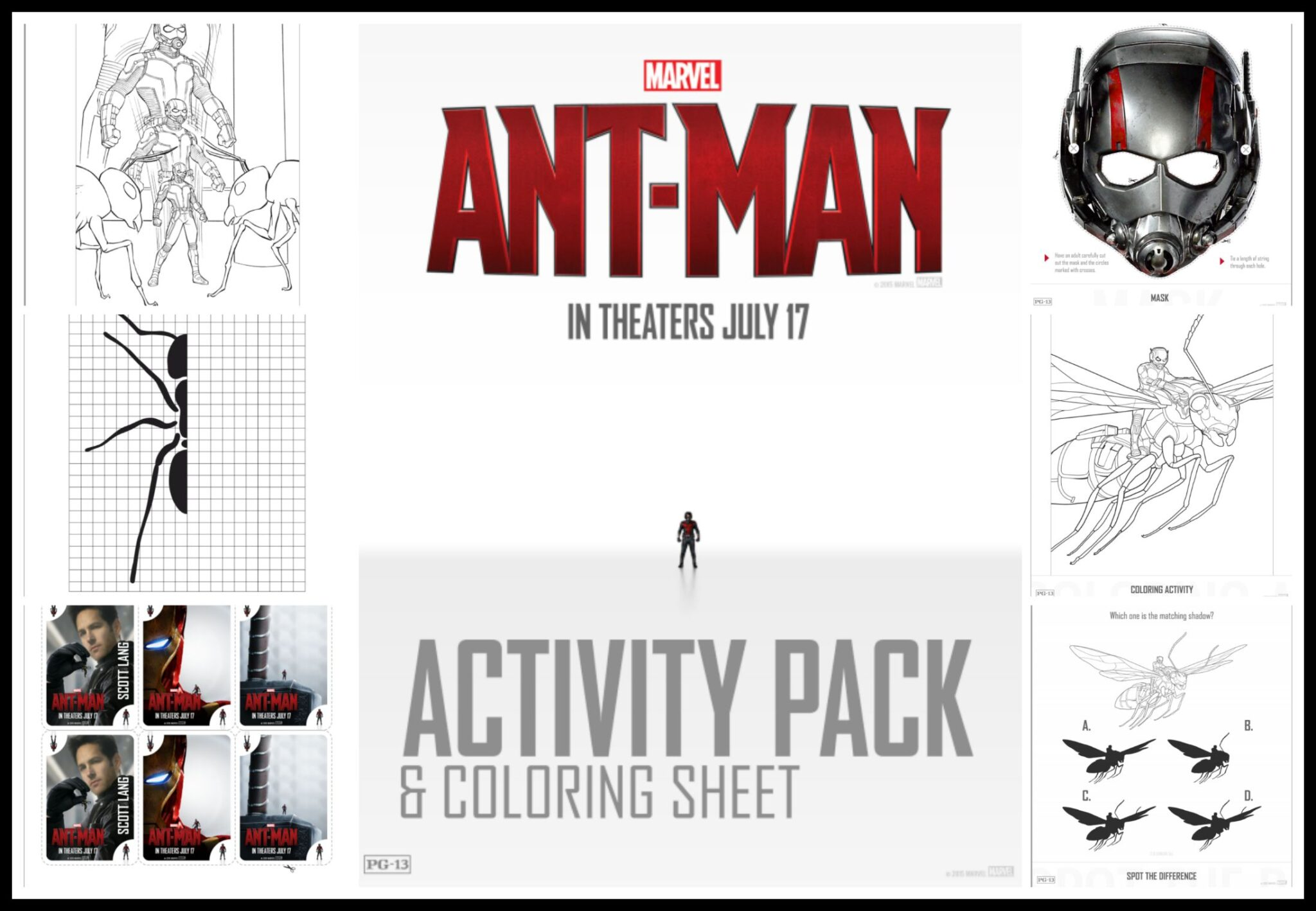 Free Ant Man Coloring and Activity Pages