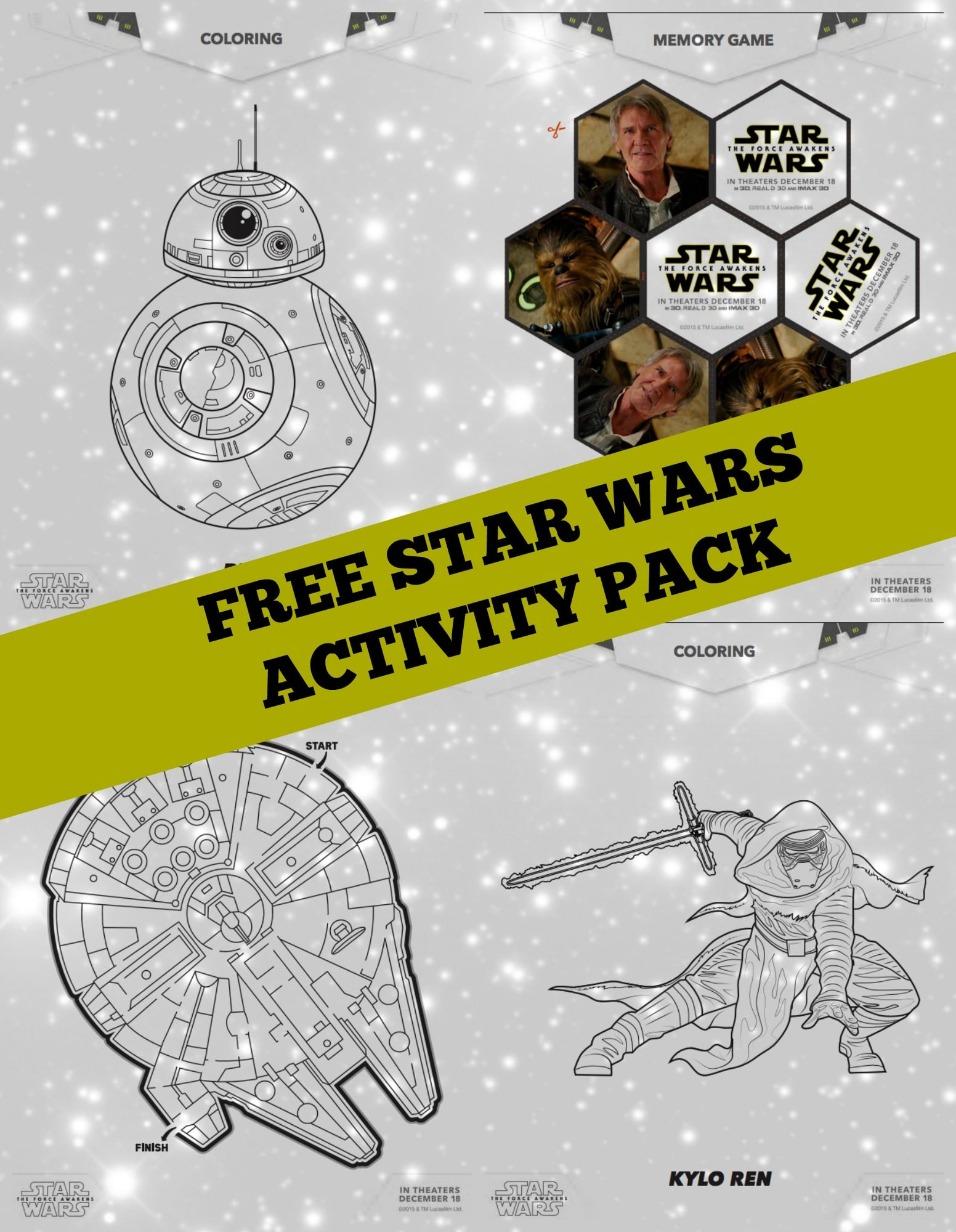 Free Star Wars The Force Awakens Coloring Pages and Activity Sheets