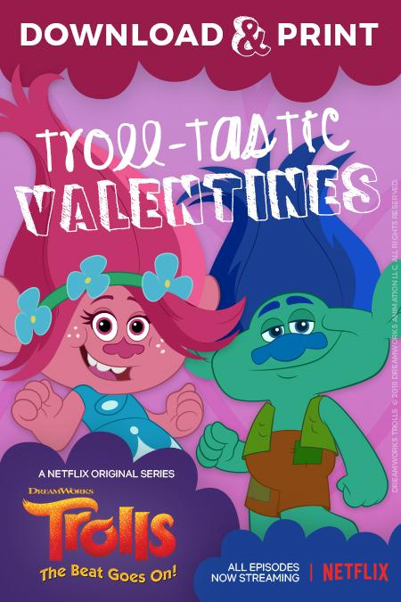 Trolls Free Valentine's Day Printables